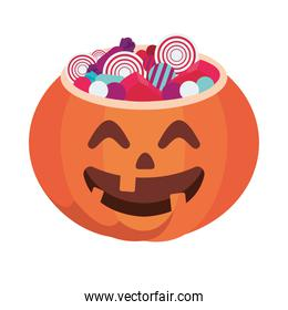 halloween pumpkin with candies isolated icon