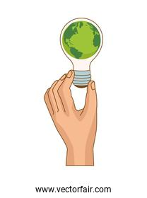 hand lifting bulb ecology with planet earth