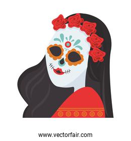 traditional mexican katrina skull painted with flowers