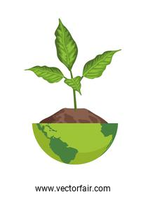 plant in half earth planet ecology icon