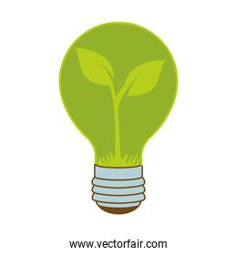 eco bulb light with leafs plant