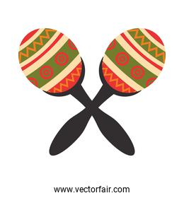 mexican maracas tropical instruments icons