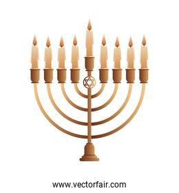 golden chandelier decorative with nine candles isolated icon