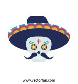 traditional mexican mariachi skull with hat and mustache character