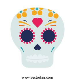traditional mexican skull head with heart painted