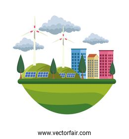 green city ecology isolated icon