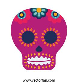 purple traditional mexican skull head with flowers