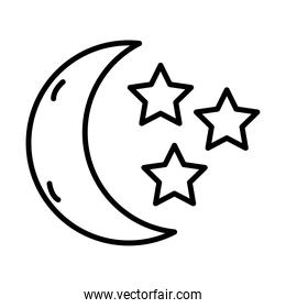 moon with stars insomnia line style icon