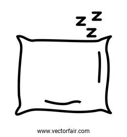 pillow and z letters style line icon