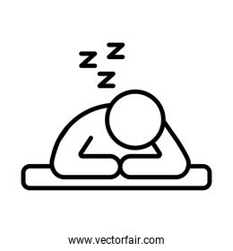 person sleeping with z letters line style icon