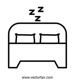 bed with z letters line style icon