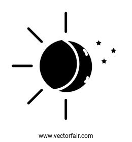 sun and moon with stars insomnia silhouette style icon