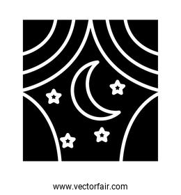 moon with stars in window insomnia silhouette style icon