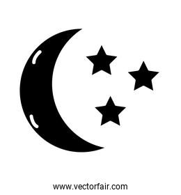 moon with stars insomnia silhouette style icon