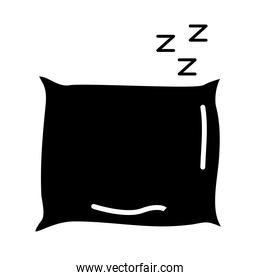 pillow and z letters style silhouette icon
