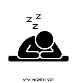 person sleeping with z letters silhouette style icon