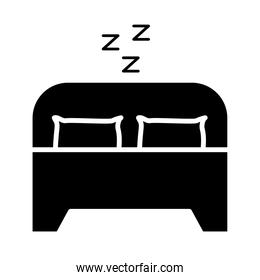bed with z letters silhouette style icon