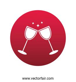 wine cups drink block style icon