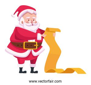cute santa claus reading gifts list character