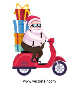 cute santa claus with gifts in motorcycle character