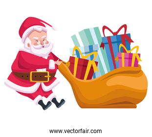 cute santa claus with gifts bag character