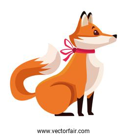 cute fox with christmas bow character