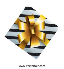 happy merry christmas silver stripes gift with golden bow