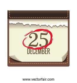 calendar with 25 december date christmas icon