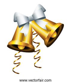 happy merry christmas golden bells with silver bow icon