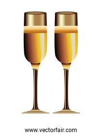 golden champagne cups celebration icon