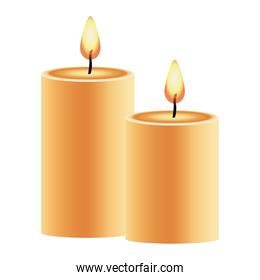 happy new year golden candles decoration icons