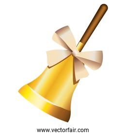 happy merry christmas golden bell with white pearl bow