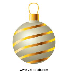 happy merry christmas ball with golden waves