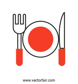 dish with fork and knife fill style icon