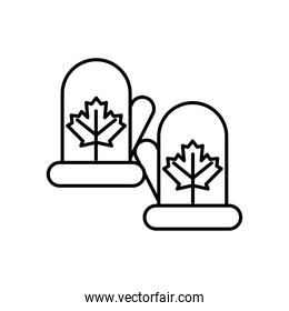 gloves winter with maple leafs line style icon