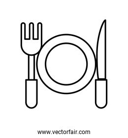 dish with fork and knife line style icon