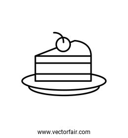cake portion and cherry line style icon