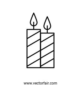 candles fire decoration line style icon