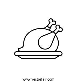 dish with delicious turkey thanksgiving food line style icon