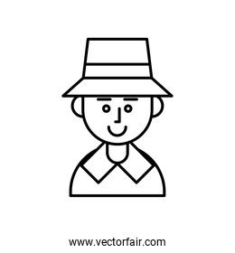 pilgrim man character with hat line style icon