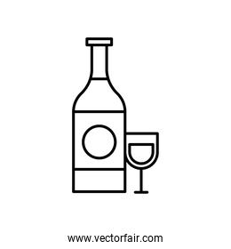 wine bottle and cup line style icon