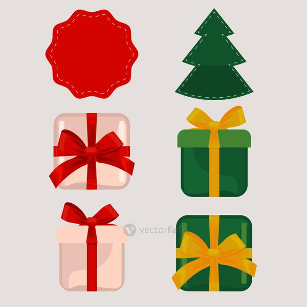 happy merry christmas gifts and pine tree