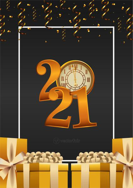 happy new year lettering card with 2021 number and gifts golden