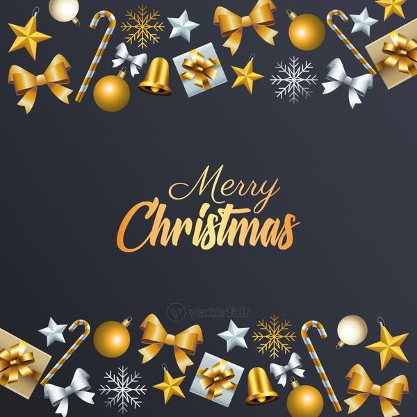 happy merry christmas golden lettering with set decorative frame