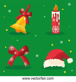 bundle of four happy merry christmas icons in red background