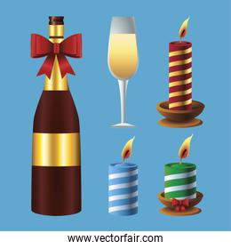 happy merry christmas champagne and candles