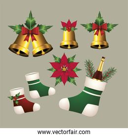 happy merry christmas with golden bells and socks