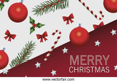 happy merry christmas lettering card with fir leafs and balls