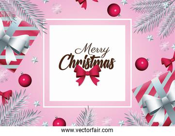 happy merry christmas lettering card with gifts and firs