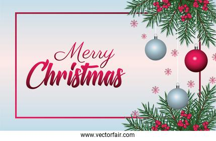 happy merry christmas lettering card with balls and firs frame